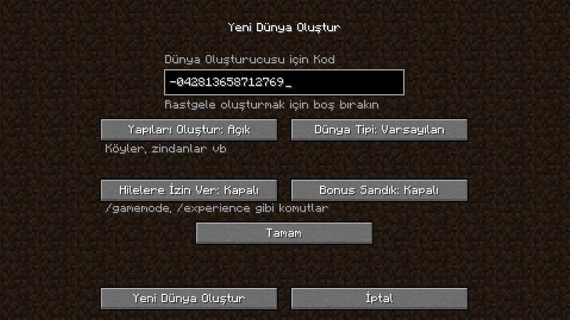Minecraft köy kodu giriş ekranı