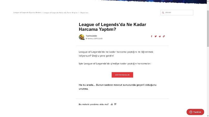 League of Legends'a Ne Kadar Harcadım