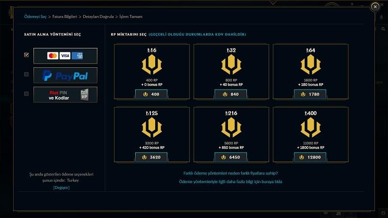 League of Legends 2020 RP Fiyatları Nasıl?